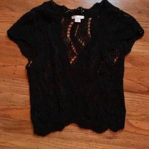 Crocheted black vest